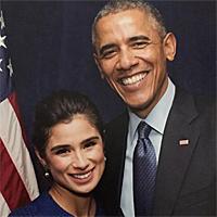 Diane Guerrero with President Barack Obama in 2015
